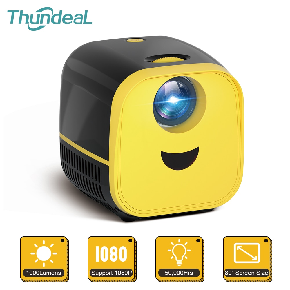 Thundeal-miniproyector portátil L1, 1000 lúmenes, 1080P, vídeo Full HD, 3D, cine en...