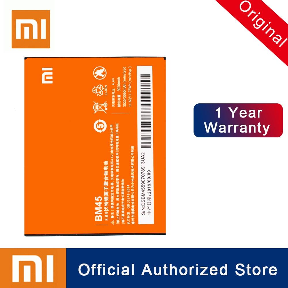 Batería Original Xiao mi BM45 para Xiaomi mi Red mi Note 2 Red mi Note2 batería recargable de teléfono de reemplazo de alta capacidad