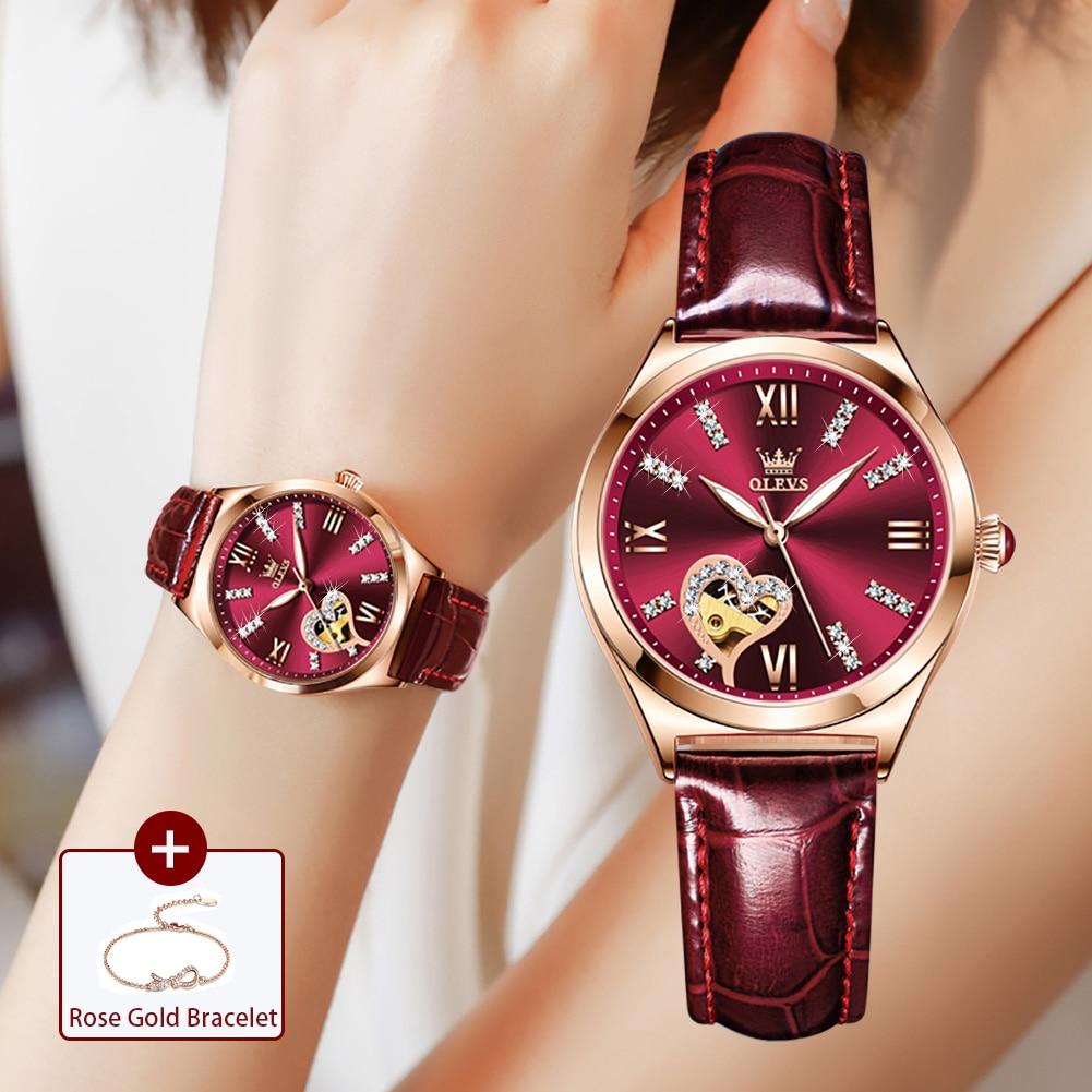 جديد فاخر نساء ساعات التلقائي الميكانيكية جلدية ساعة معصم حجر الراين السيدات سوار الموضة مجموعة هدية العلامة التجارية الأعلى