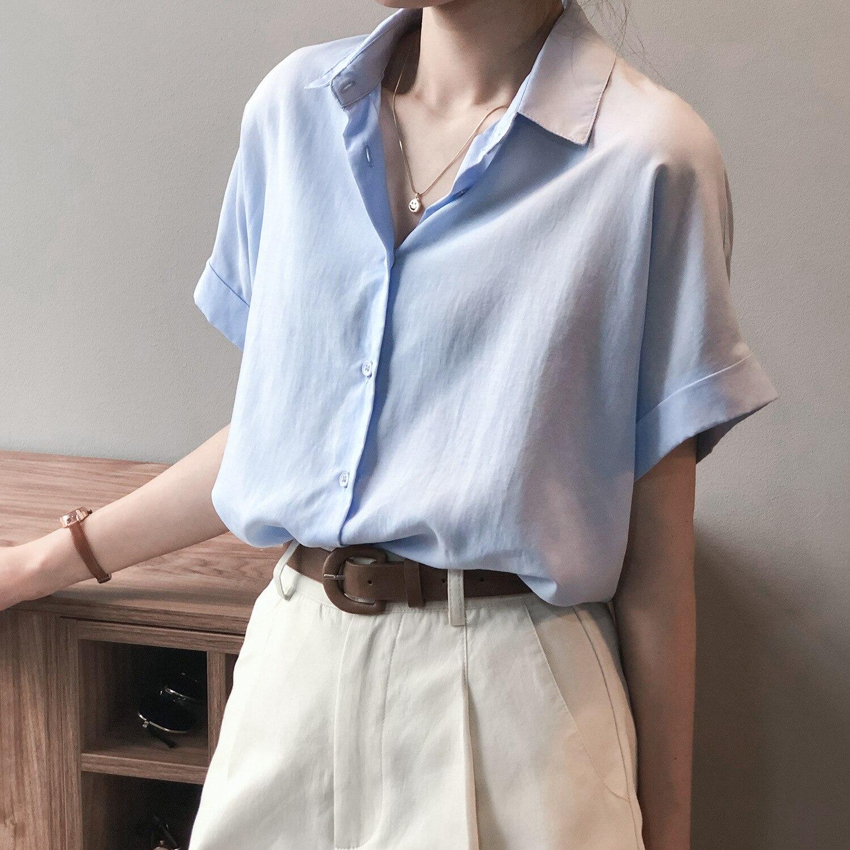 CMAZ Fashion Women Chiffon Blouse Summer Shirt Short Sleeve Blue Shirts Office Ladies Tops V Neck Ko