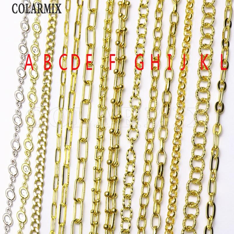 5 متر ربط سلسلة متعددة أنواع الموضة المفتوحة ربط سلسلة مزيج الألوان كليب ملحقات السلسلة للنساء سلسلة مجوهرات الأزياء 9633