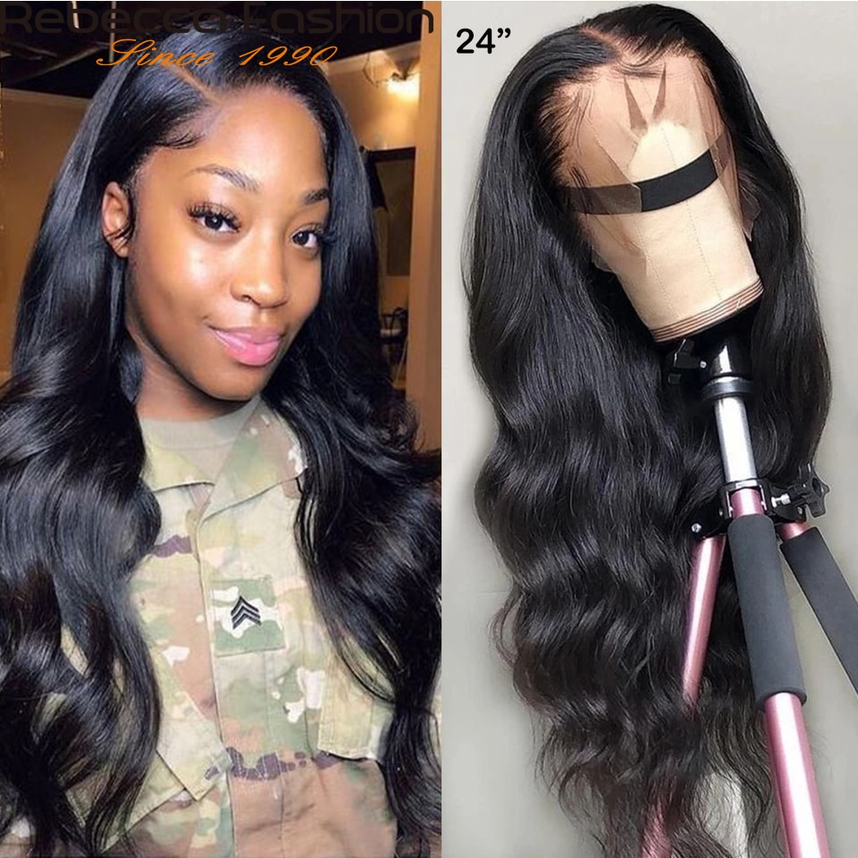Rebecca 180% 360 Body Wave Full Lace Frontal Human Hair Wig With Baby Hair Pre Plucked Brazilian Lac