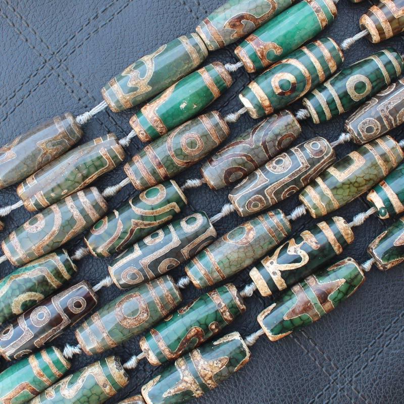 ¡Verde Dzi ágata 14x40mm 9 ojos ovalados cuentas, 8 Uds por hilo, para hacer joyería DIY! ¡Proporcionamos mezcla al por mayor para todos los artículos!