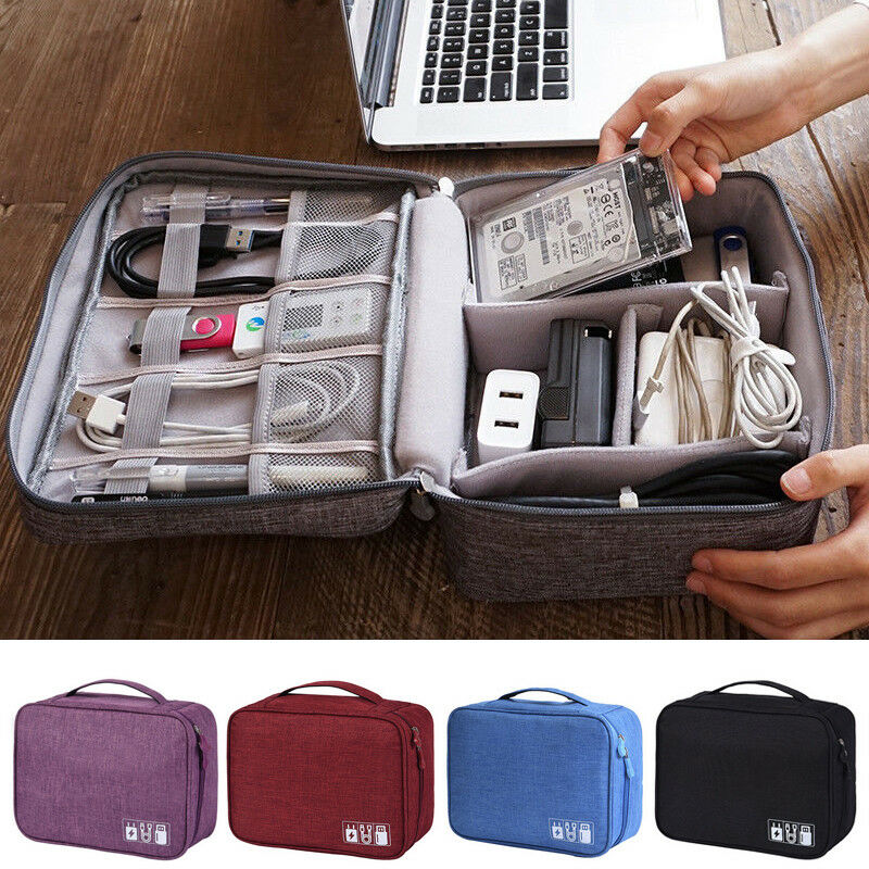 ¡Oferta! Accesorios electrónicos, organizador de viaje, bolso de mano de almacenamiento con Cable USB, estuche informal sólido impermeable con cremallera, bolso de viaje Oxford