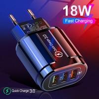 18W быстрое зарядное устройство 3,0 USB зарядное устройство для iphone 12pro max Samsung Tablet ЕС США Plug стены мобильный телефон зарядное устройство адаптер ...