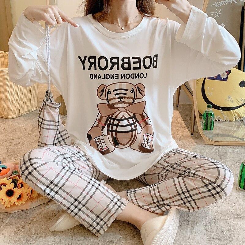 2020 automne nouvelles femmes vêtements de nuit dessin animé imprimé o-cou pyjamas ensemble 2 pièces en vrac grande taille dames Simple Style Homewear
