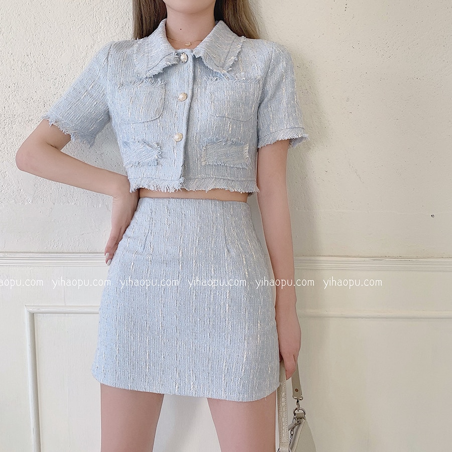 الصيف الملابس للنساء تويد اثنين من قطعة مجموعة قصيرة الأكمام المحاصيل قمم السراويل تنورة دعوى الإناث أنيقة 2 قطعة مجموعة النساء