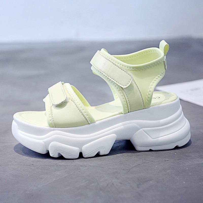 Vrouwen Chunky Sandalen Platform Beknopte Ontwerpers Effen Open Teen Merk Mode Vrouw Wig Sandaal Haak Lus Strand Casual Schoenen