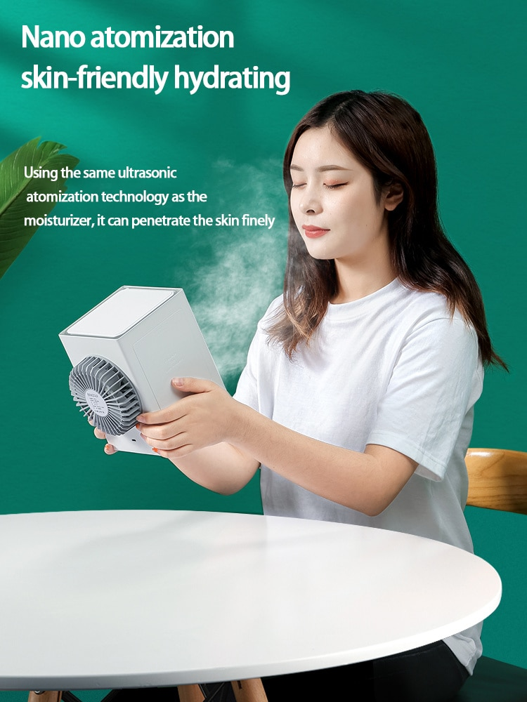 USB AC Unit Fan Portable Rechargeable Humidifier Purifier Bedroom Office Low Noise Table Water Cooler Fan Home Air Conditioner