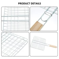 hot sale iron wire barbecue grilling basket bbq net wooden handle meat fish clip holder camping accessories