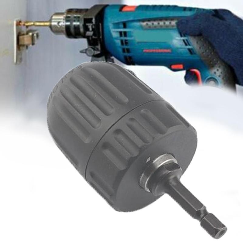 Keyless Chuck Driver Hex Shank Screwdriver to Drill Converter 1/4'' HEX to 3/8'' Drill Bit Accessories enlarge