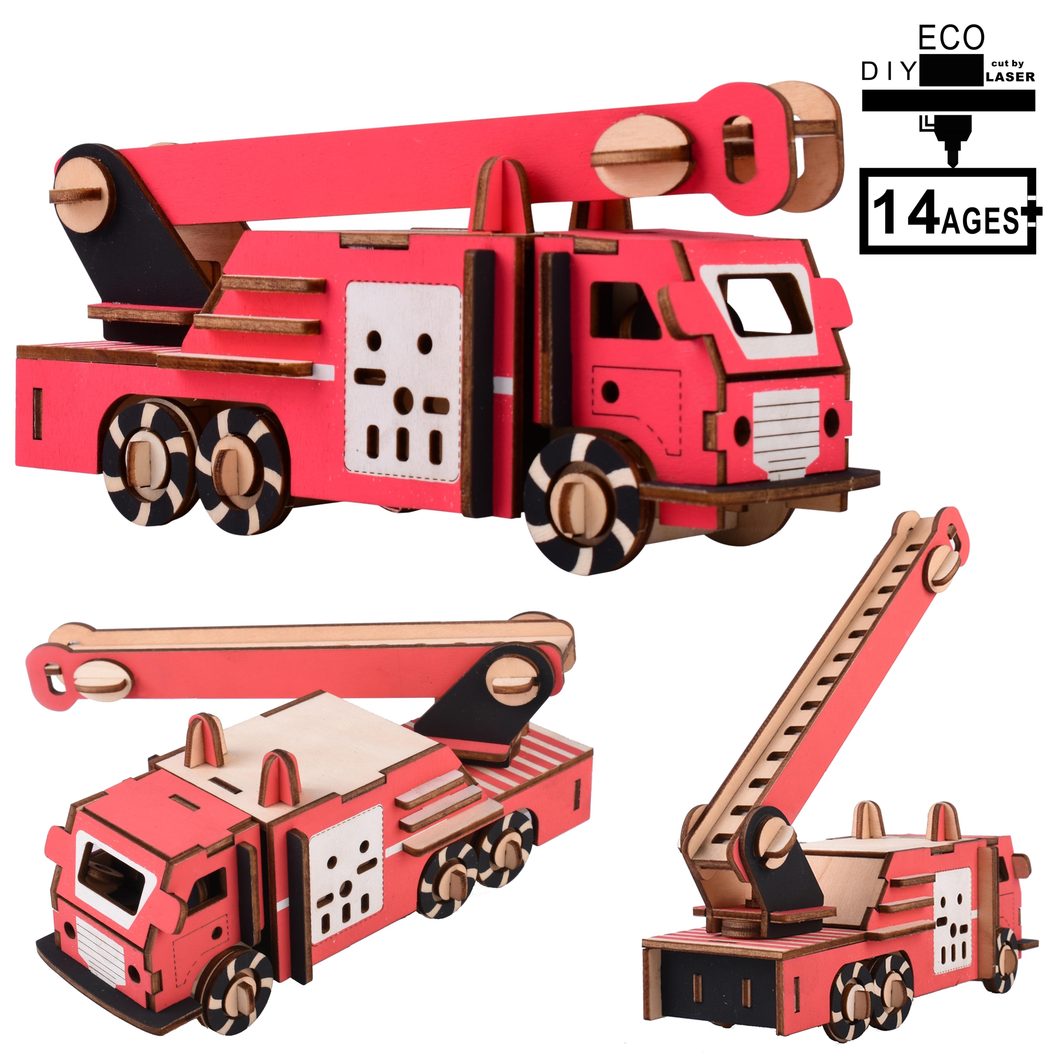 Iq Rompecabezas Montessori Madera para niños Quebra Cabeca Juegos didácticos Houten Juegos Speelgoed Juguetes Rompecabezas camión de bomberos