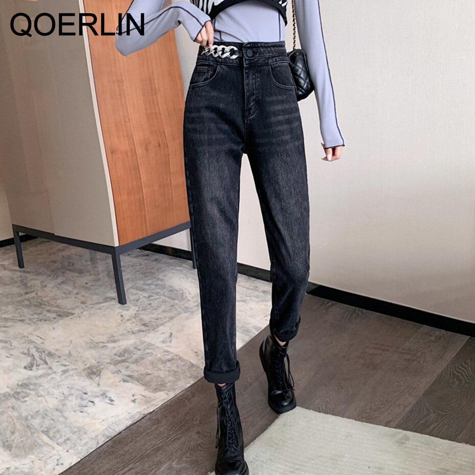 QoerliN-بنطلون جينز نسائي بسلسلة معدنية ، ملابس شتوية من الصوف ، بنطلون جينز أسود مستقيم ، خصر عالي مخملي