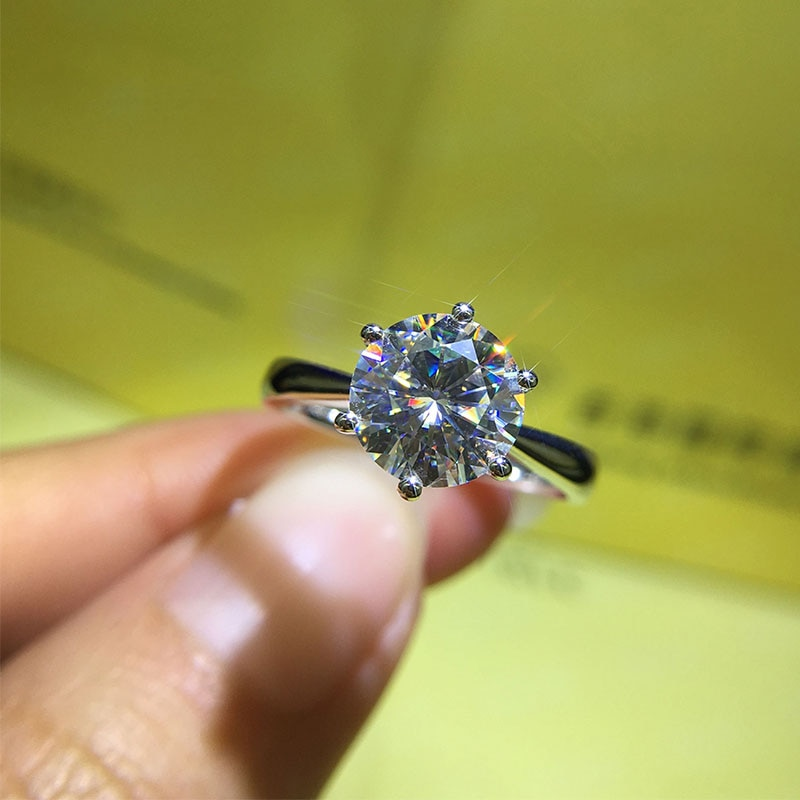Classic 925 sterling silver Round Brilliant Cut Moissanite Ring 1ct 2ct 3ct moissanite jewelry Engagement Anniversary Ring