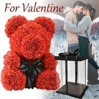 Ourson en roses artificielles  40cm  fausses fleurs  coeur damour  pour un mariage  pour un cadeau de saint-valentin  pour une decoration de la maison