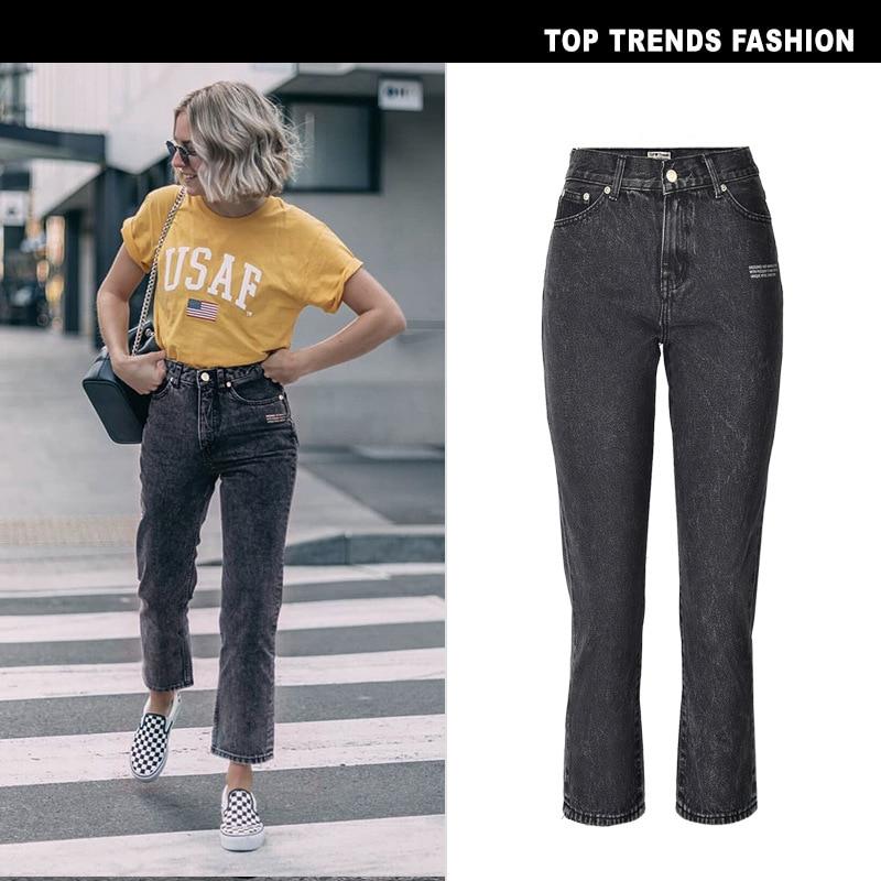Прямые джинсы, женская одежда, свободные прямые трубы с буквами горячего тиснения, универсальные девять точечные джинсы, повседневные девя...