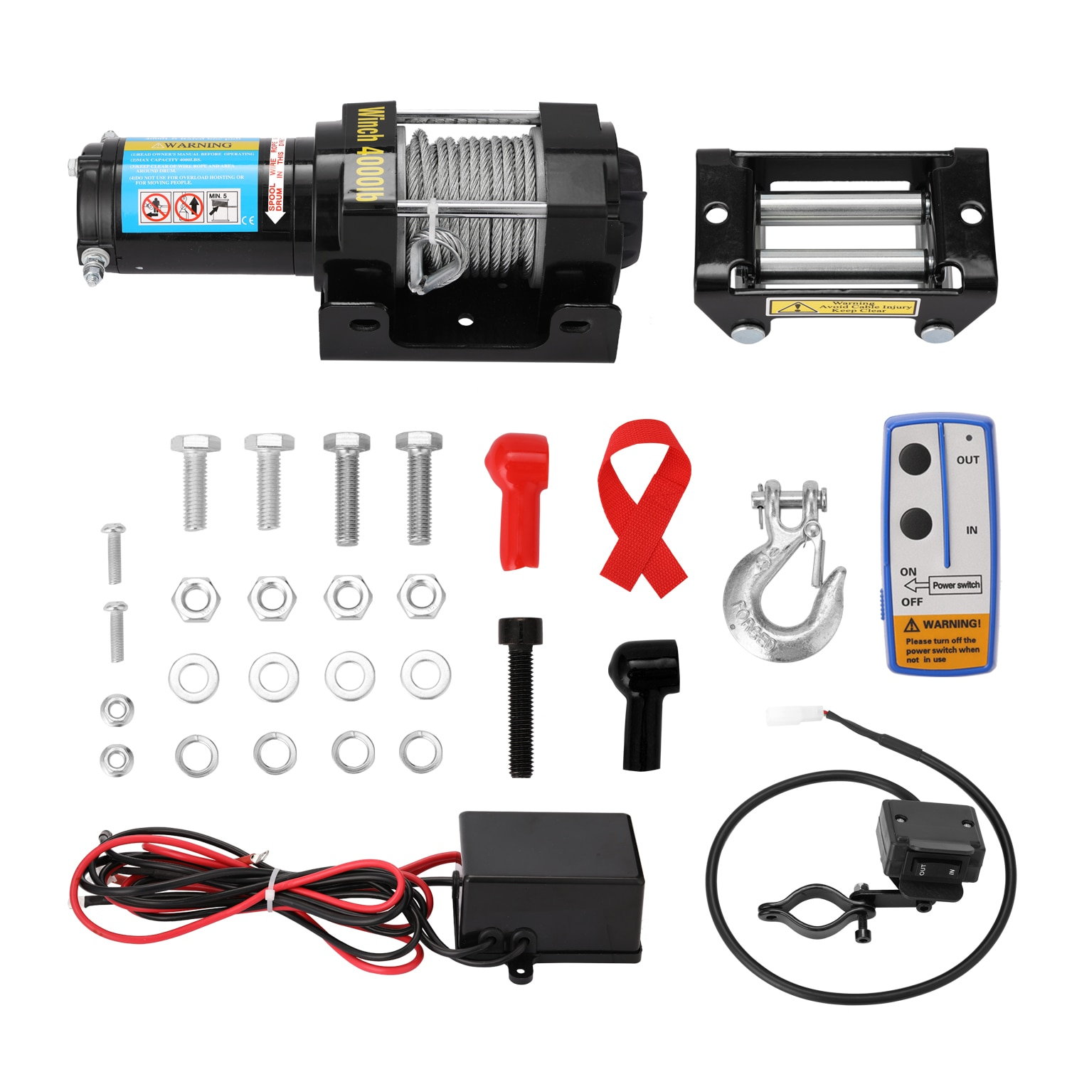 Professional 4000lbs Electric Recovery Winch Kit ATV Trailer Truck Car DC12V Remote Control Winches Winch
