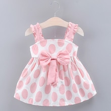 Summer Dress Baby Dress Cute Girls Clothes Toddler Kids Strap Bow Dot Print Sleeveless Princess Dres