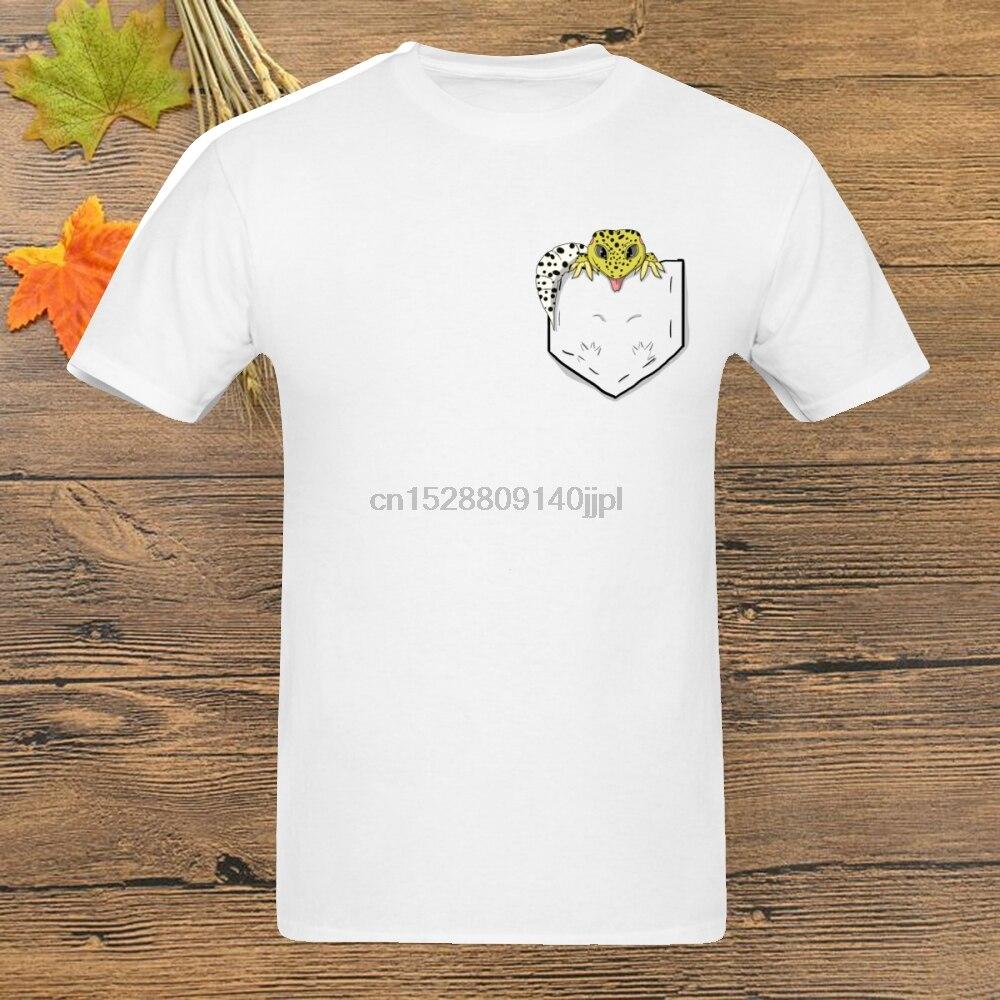 Novelty Reptile Leopard Gecko In Pocket T Shirt For Male Fashion Tee shirt hip hop Crewneck Streetwear T-Shirt