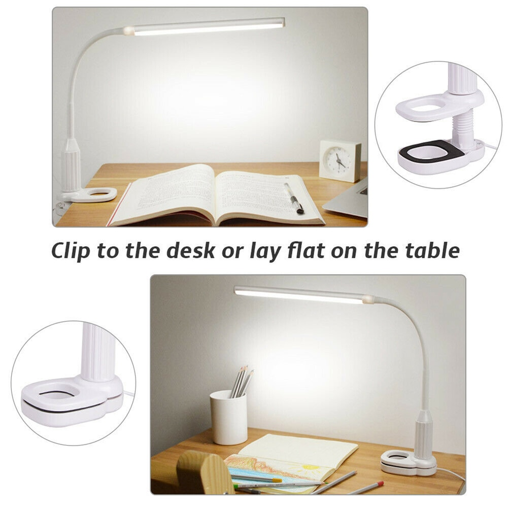 LED Flexible USB Touching Desk Lamp with Dimmable Clip for Study Reading Night Light PUO88