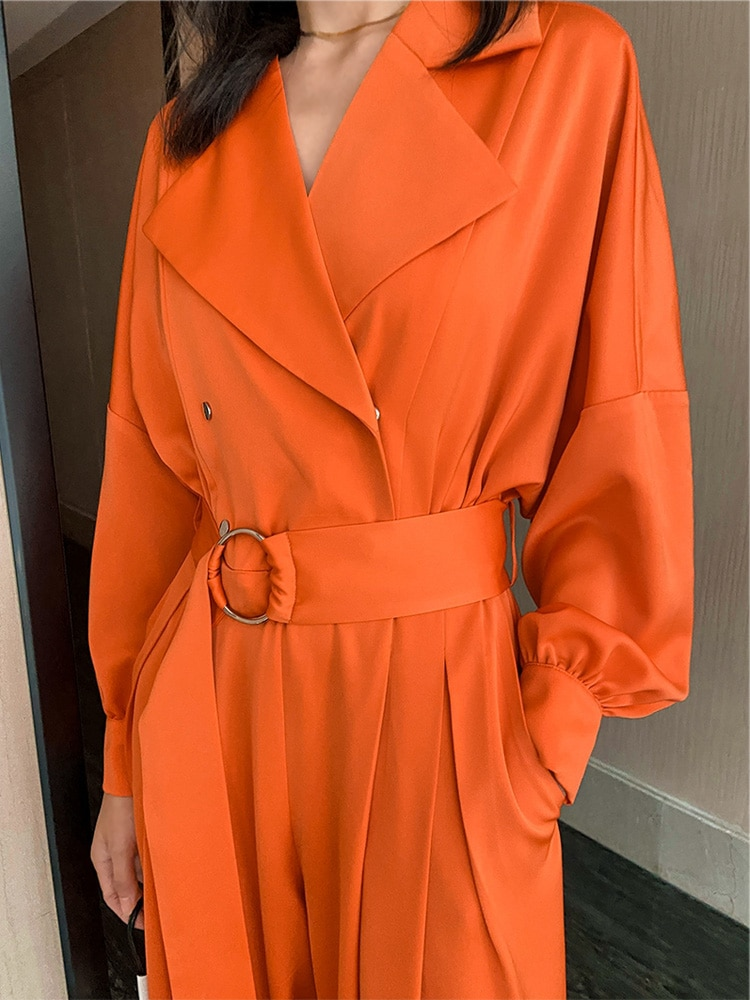 VKBN Jumpsuit Women Casual Loose Wide Leg Orange High Quality Long Sleeve Jumpsuits for Women Spring Autumn Full Length Pants