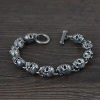 s925 sterling silver vintage thai silver bracelet for men detachable skull silver bracelet vintage punk rock skeleton jewelry