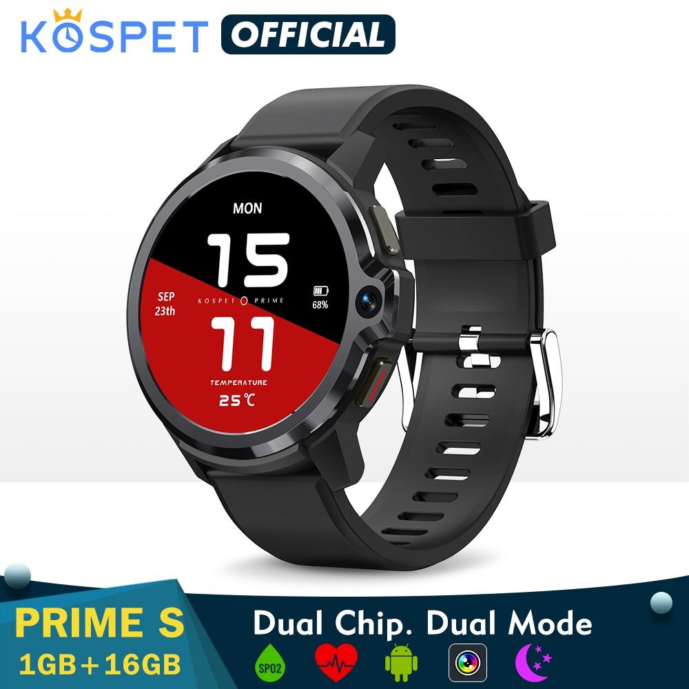ساعة ذكية Smartwatch 2021 KOSPET PRIME S 1GB 16GB ساعة ذكية الرجال وضع مزدوج كاميرا بلوتوث لتحديد المواقع 4G أندرويد ساعة ذكية IP67 مقاوم للماء
