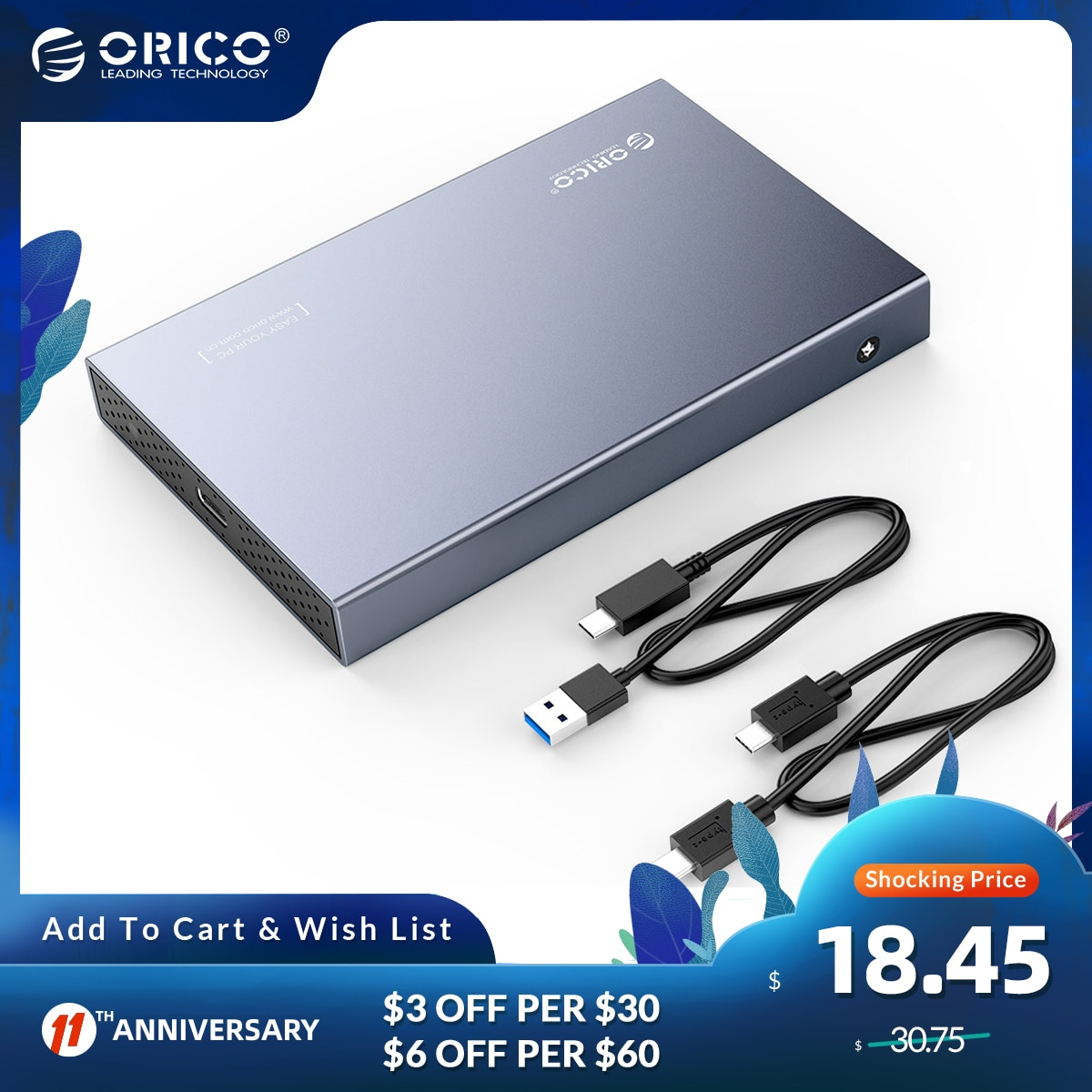 ORICO 2.5 Inch SATA to USB 3.1 Type C Gen 2 HDD Case 4TB Hard Disk Drive Box External HDD Enclosure for Samsung Seagate HDD SSD