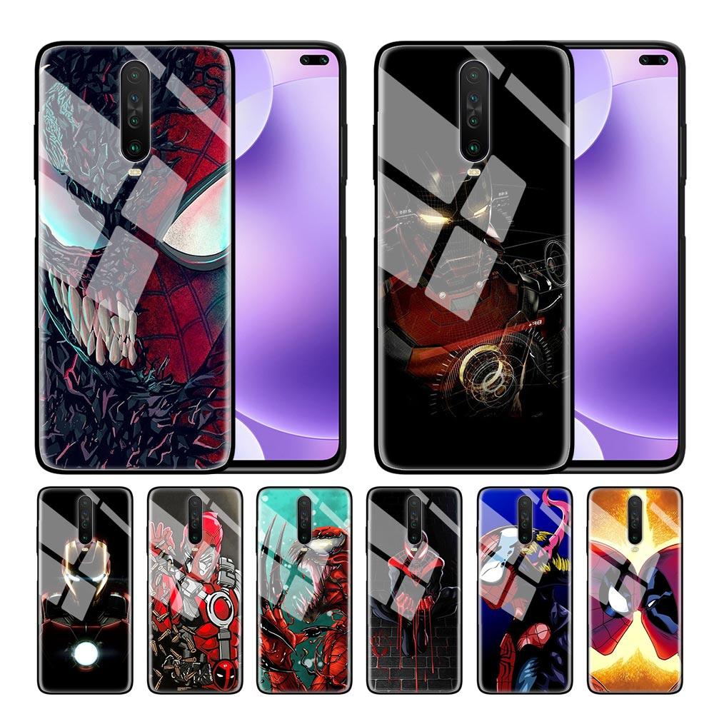 Чехол из закаленного стекла для телефона для Red mi 7 8A 9T Note 6 7 8T Pro Cover для Xiaomi mi Note 10 Pro Shell чудо-яд Железный человек паук