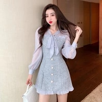 new spring vintage high waist see through chiffon patchwork tweed mini dress women ribbon bow long sleeve button party dress 61i