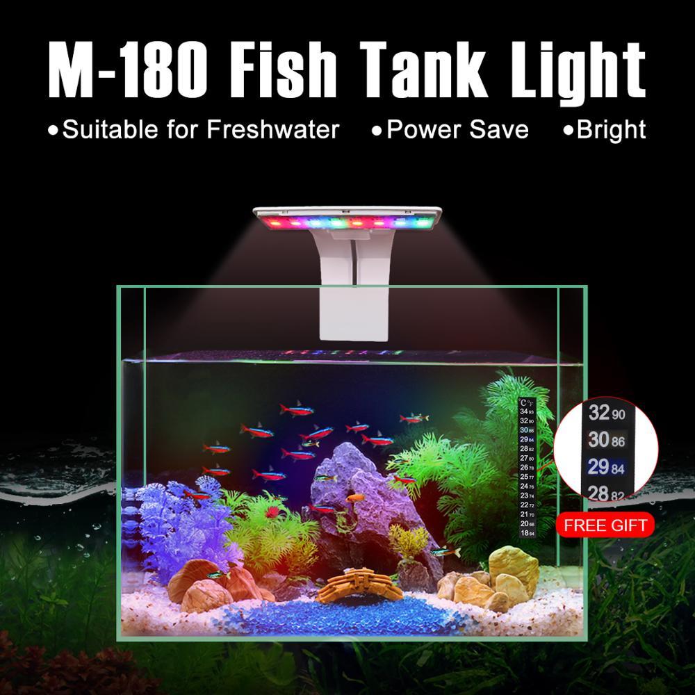 Senzeal M-180 Luz de acuario de alto brillo LED Luz de alternancia de Color 110V/220V 5W 550LM para menos de 12 pulgadas pecera