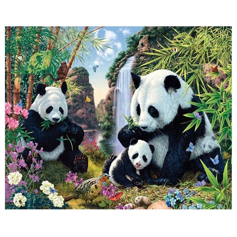 Gatyztory 5d DIY diamante pintura Panda gigante accesorios mosaico bordado hobby foto de diamante de imitación decoración de hogar