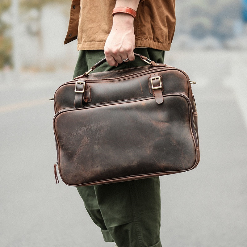 Crazy horse leather retro men's briefcase natural real leather large-capacity handbag cowhide casual business computer bag