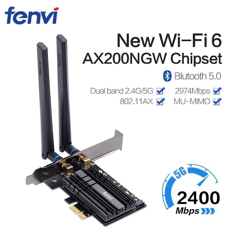 Dual band 3000Mbps Wifi 6 Intel AX200 PCIe Wireless Wifi Adapter 2.4G/5Ghz 802.11ac/ax Bluetooth 5.0