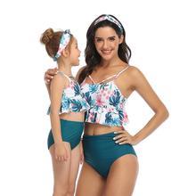 Mother Daughter Swimwear Women Baby Girl Family Swimsuit Tankini Leaf Print Ruffled Bikini Set High Waist Bikini Bathing Suit