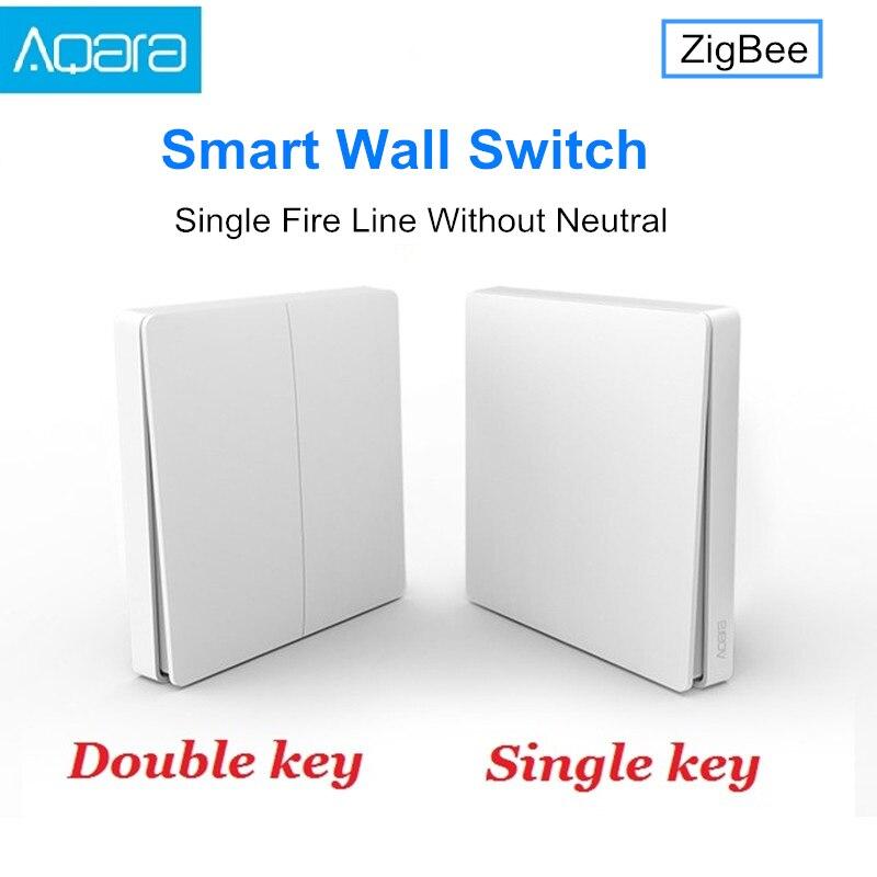 Оригинальный настенный выключатель Xiaomi Aqara, умный переключатель управления светом, версия ZigBee, один двойной ключ, приложение для смартфона, ...