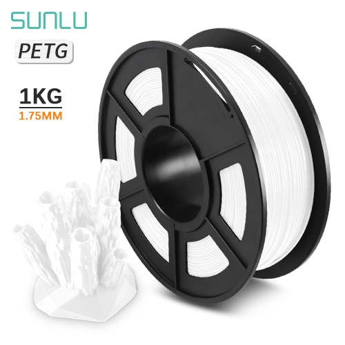 Sunlu PETG 3D Printer Filament 1.75/3.0mm 1KG/2.2LBS Spool PETG 100% Virgin Material in Transparent White Color Consumables