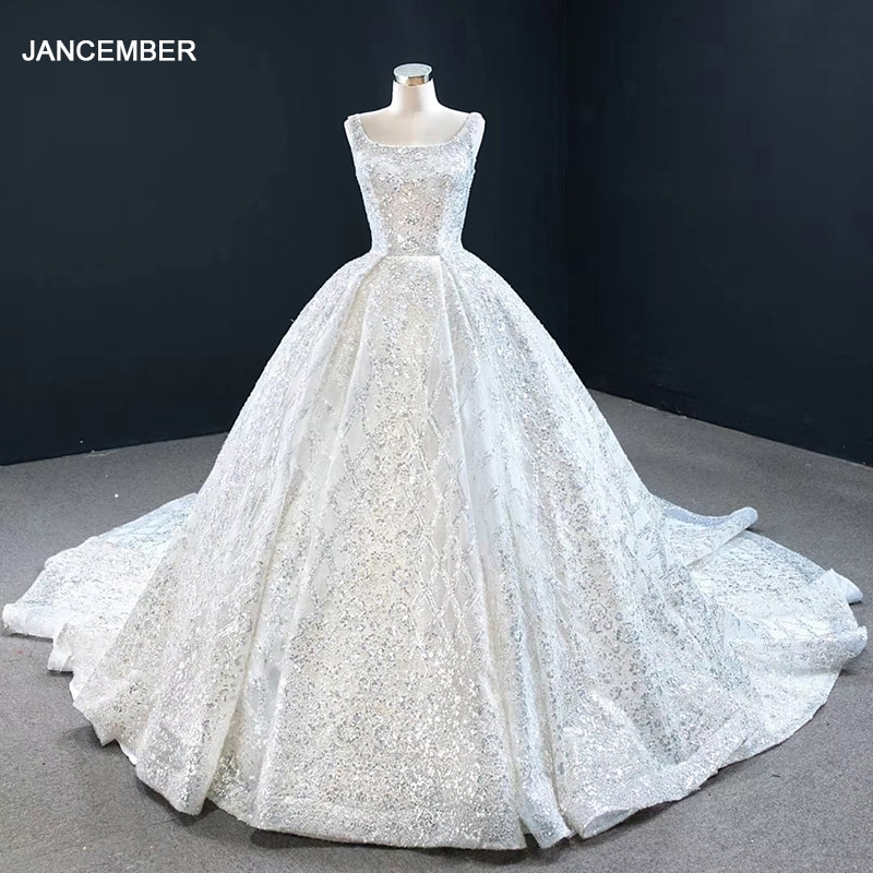 RSM67122 Shiny White Elegant Metal Sequins Bridal Wedding Dress Banquet Activities Backless Lace-up Church Trailing Skirt