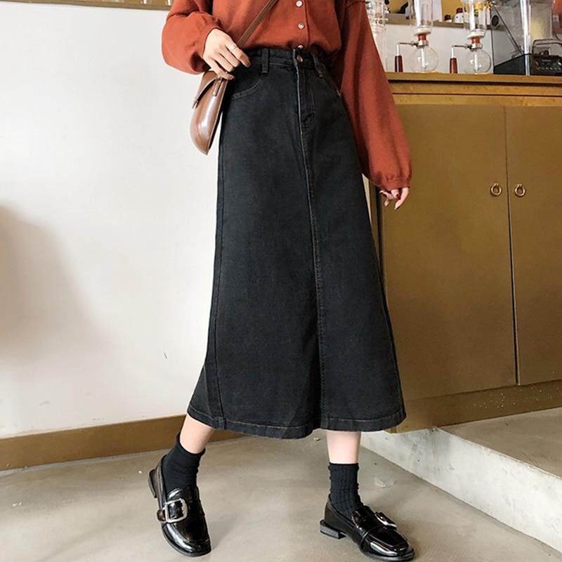 Slim High Waist Midi Jean Skirt Women A-line Loose Streetwear Skirts Female Pockets Denim Skirts 2020 Spring Autumn