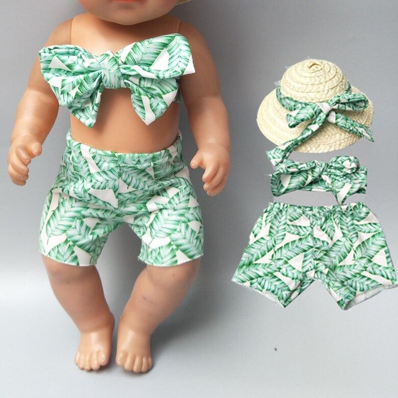 Ropa de muñeca bebé recién nacido conjunto de bikini de playa Hawaiano de vacaciones de verano con sombrero para muñeca de 18 pulgadas ropa de vacaciones camiseta pantalones conjunto