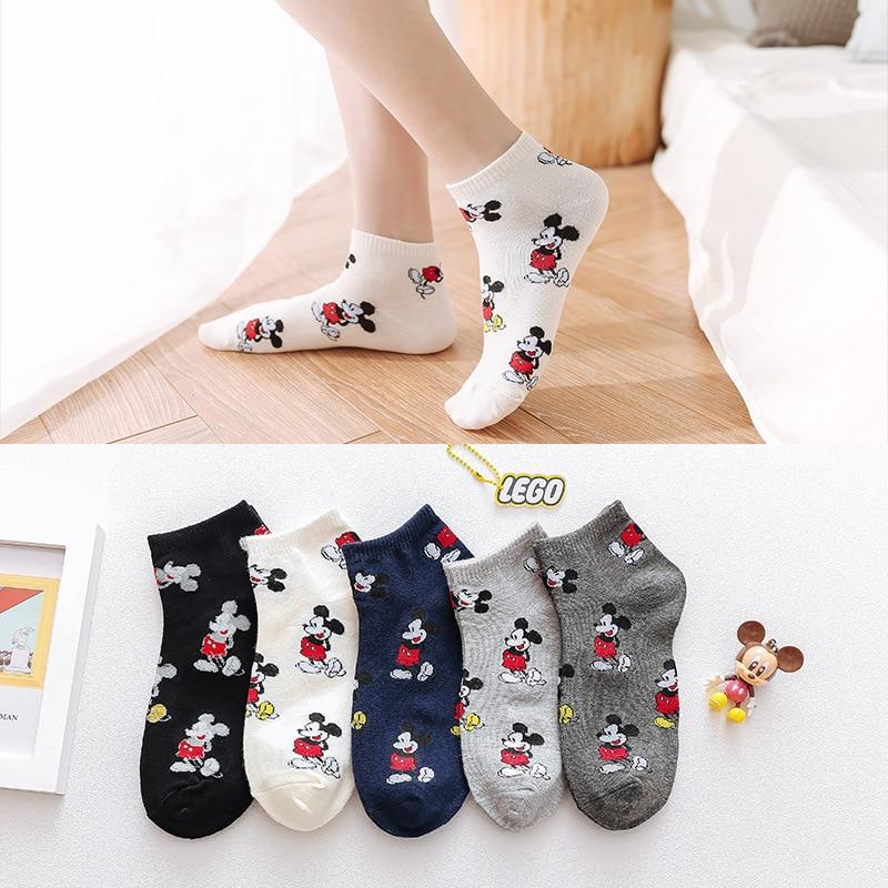 Женские носки в Корейском стиле, носки с мультяшными животными и мышками, милые короткие носки Kawaii, хлопчатобумажные забавные носки-башмачки для девочек