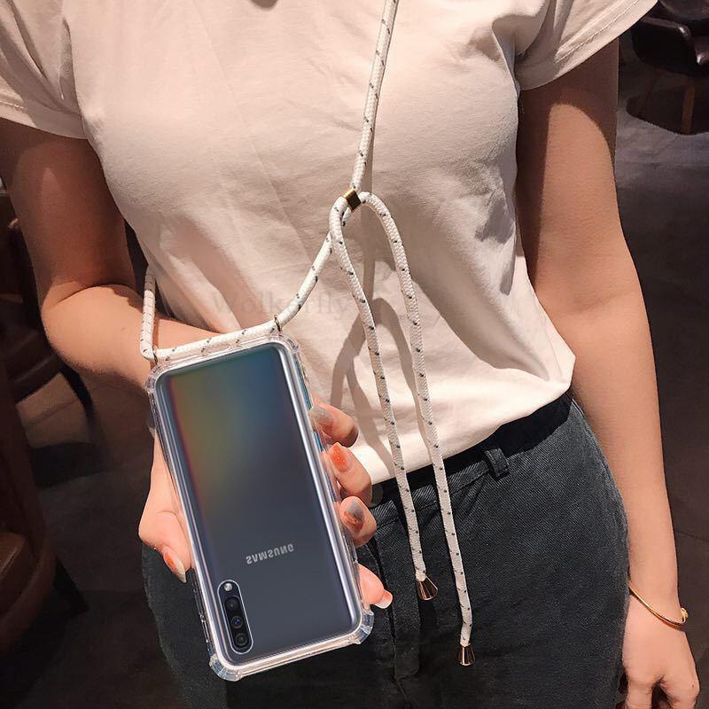 Funda de cordón para collar para Samsung S20 Ultra S10 S9 S8 Plus, funda transparente suave para Galaxy A51 A71 A20 A30 A50 A70 Note 9 10 Pro