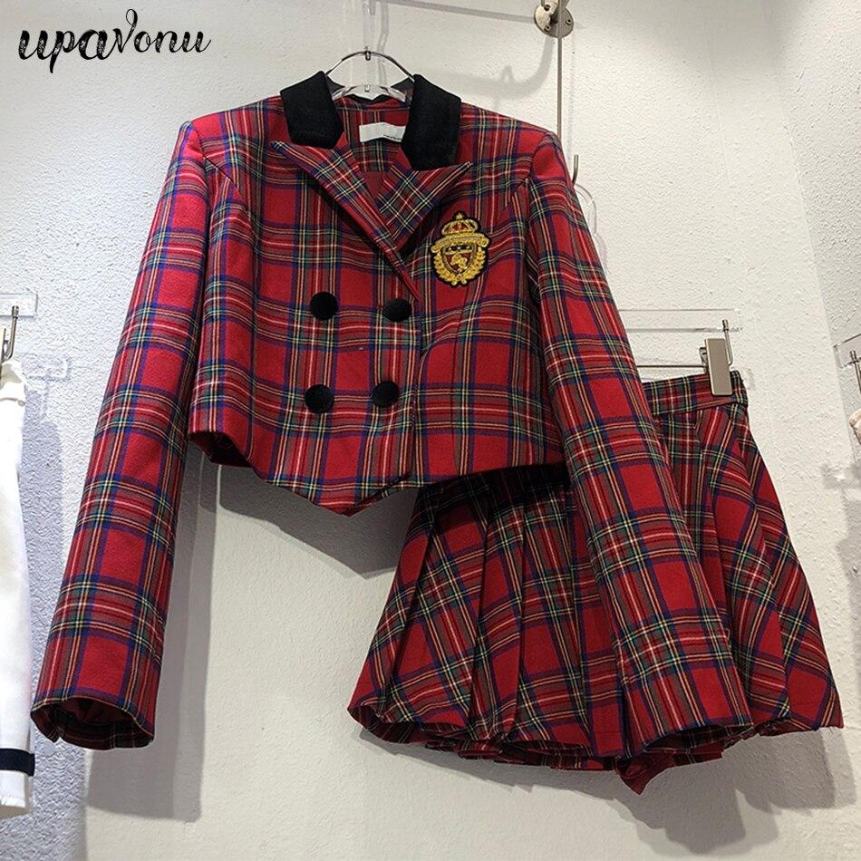شحن مجاني مجموعة السترة البريطانية منقوشة عالية الجودة سترة المرأة مزدوجة الصدر و تنورة صغيرة مطوي قطعتين مجموعة 2021 جديد