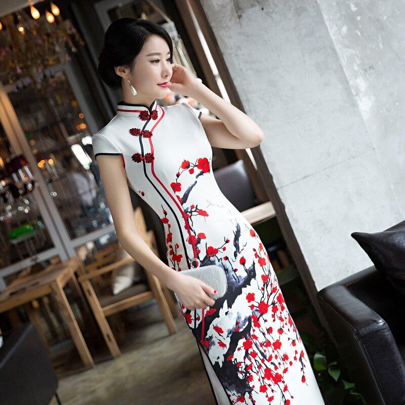 Sheng Coco 4XL blanco rojo ciruela largo Qipao Vestidos Mujer noche banquete Cheongsam hermoso vestido largo Qipao ropa china