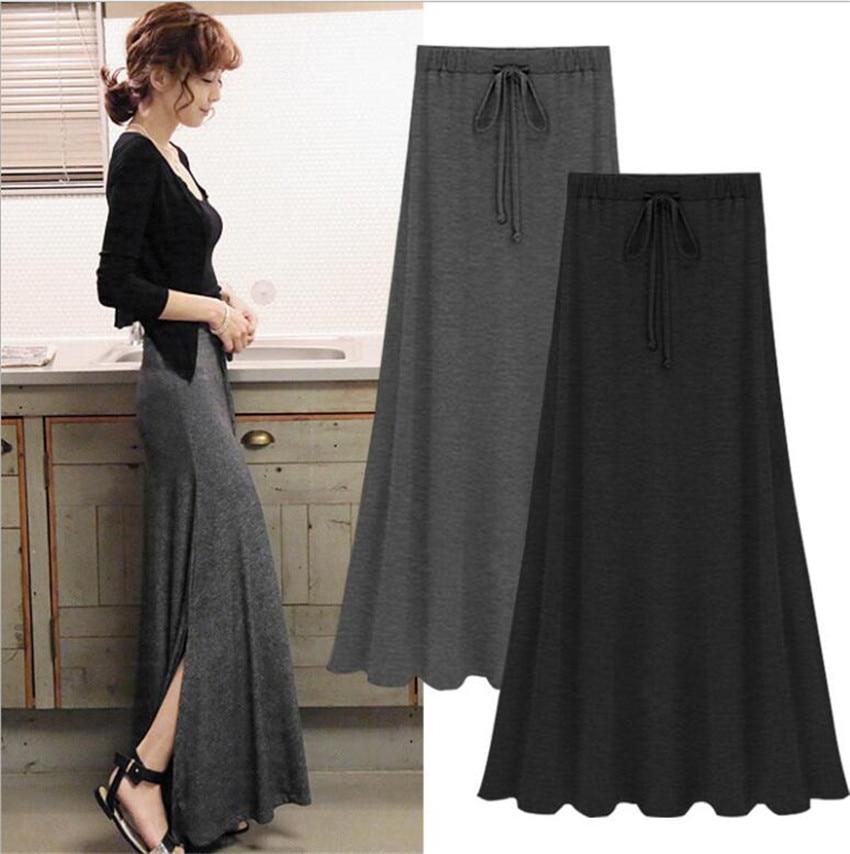 Sexy verão fenda lado saia feminina moda casual longo maxi saia sexy elástico sólido rendas-up cinza preto saias