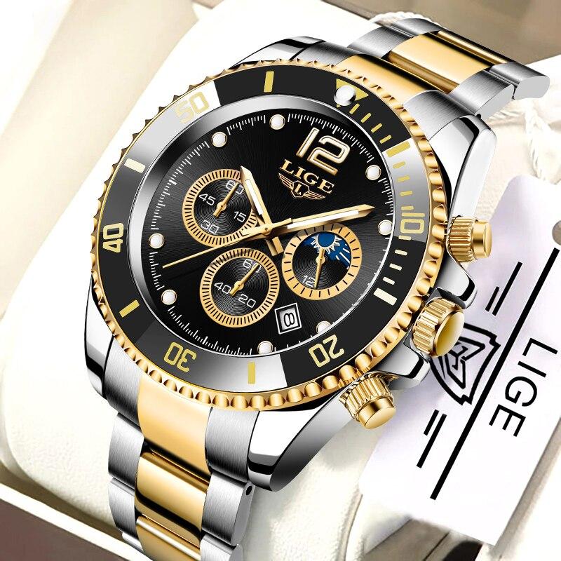 LIGE ساعة للرجال العلامة التجارية الفاخرة ساعة عادية ساعات الفولاذ القمر المرحلة رجل كرونوغراف مقاوم للماء كوارتز ساعة اليد