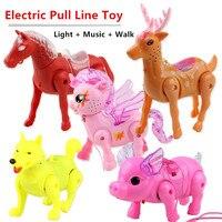 Тянущаяся леска для животных, электрическая игрушка, единорог, лошадь, олень, свинья и собака светильник + музыка + Прогулка с тяговой веревк...
