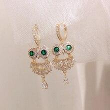Coréen offre spéciale bijoux de mode haut de gamme élégant cuivre Micro incrusté vert cristal boucles doreilles personnalité hibou boucles doreilles pour les femmes