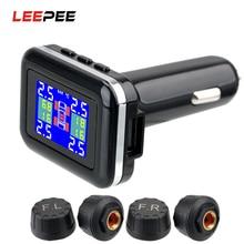 LEEPEE TPMS Car Tire Pressure Alarm Monitor System Cigarette Lighter Plug 4 External Sensors LCD Screen Display