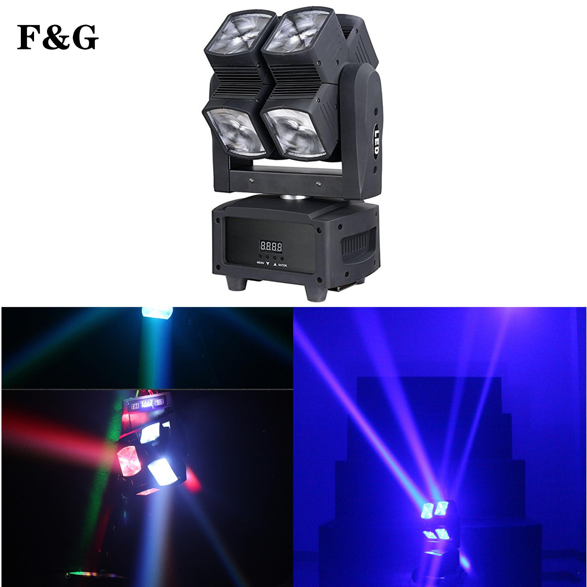 F & G ضوء المرحلة DMX LED 8x10 واط RGBW 4 في 1 تتحرك رئيس ضوء عجلة ساخنة لانهائية دوران LED شعاع المرحلة KTV DJ حفل زفاف